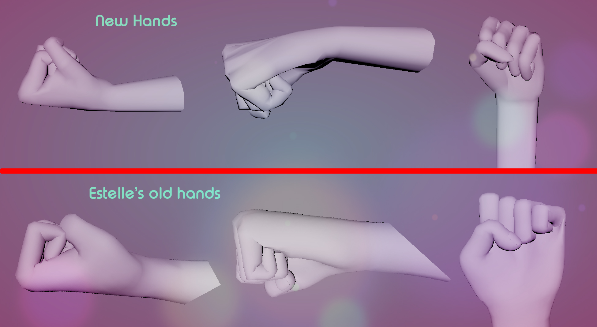 Side by side, new and old hand comparison.